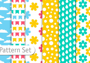 Spring Colorful Pattern Set - vector gratuit #345483