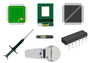 Vector Set of Various Microchips - vector gratuit #345543