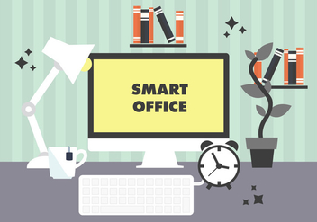 Free Modern Workplace Illustration Vector - Free vector #345703
