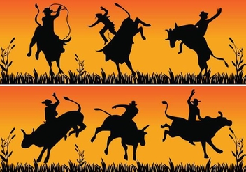 Bull riding silhouette - Free vector #345953