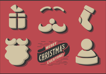 Free Cute Minimal Christmas Elements Vector - Free vector #346023