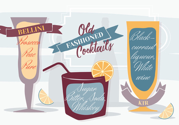 Free Various Old Fashioned Cocktails Vector Background - Free vector #346043