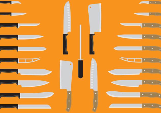 Plastic And Wood Handle Knives - Free vector #346323