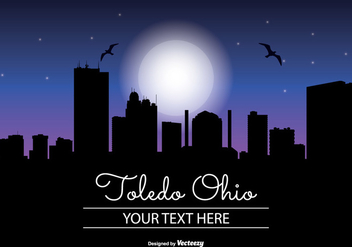 Toledo Ohio Night Skyline - бесплатный vector #346393