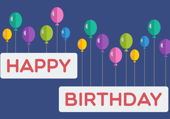 Happy Birthday Balloon Banner - vector gratuit #346443