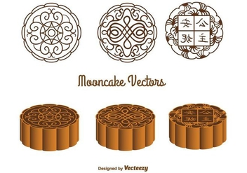 Ornate Mooncake Vectors - Free vector #346743