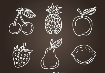 Fruits Hand Drawn Icon Vectors - бесплатный vector #346773