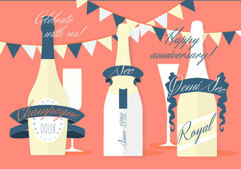 Free Various Modern Flat Champagne Vector Background - Kostenloses vector #346783