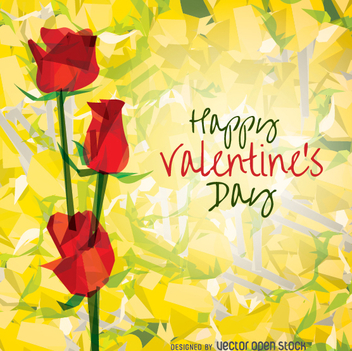 Happy Valentine's Day Roses - vector gratuit #346873