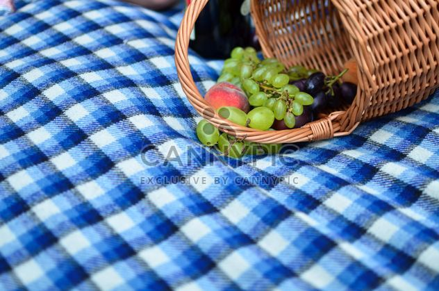 Fresh grapes and peach in basket on blue plaid - image #346983 gratis