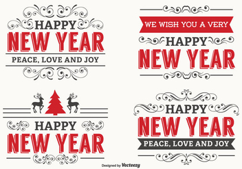 New Year Typographic Label Set - vector #347633 gratis