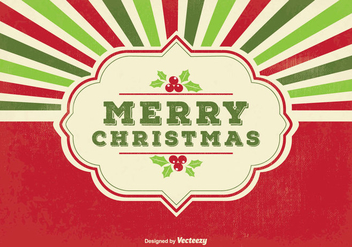 Retro Merry Christmas Illustration - Kostenloses vector #347653