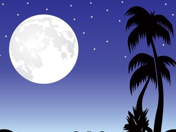 Romantic Moonlight Night Scene - vector gratuit #347663