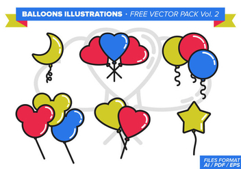Balloons Illustrations Free Vector Pack - Kostenloses vector #348243