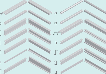 Isometric Steel Beam Vectors - Free vector #348883