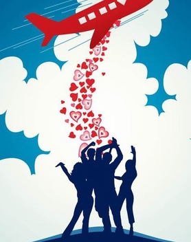 Airplane Dropping Hearts Crowd Background - vector gratuit #348903