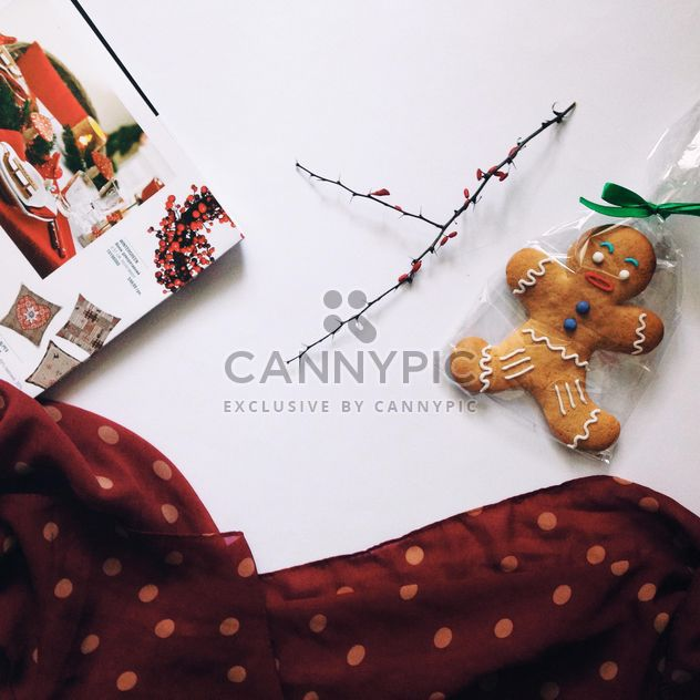 Gingerbread Cookie, twig and open magazine - Free image #348953