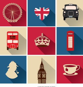 9 United Kingdom icons - vector #349233 gratis