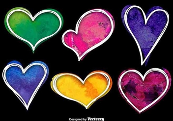 Colorful Watercolor Heart Vectors - vector gratuit #349283