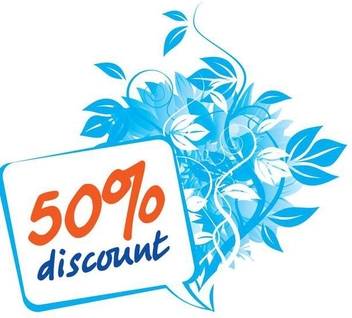 Blue Floral Discount Sign - бесплатный vector #349463
