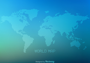 Free Vector Dotted World Map - бесплатный vector #349543