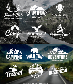 12 traveling emblems - Free vector #349923