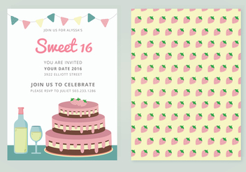 Vector Sweet 16 Card - vector gratuit #349953