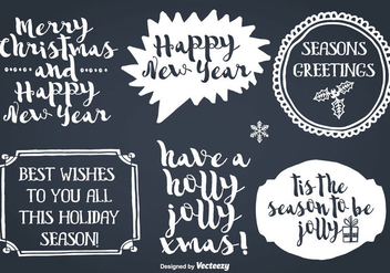 Hand Drawn Style Christmas Labels - vector gratuit #350123