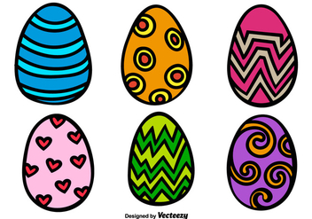 Cartoon Easter Egg Vectors - Free vector #350133