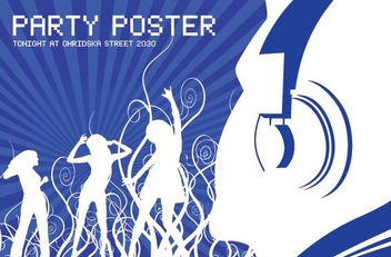 Disco Party Swirls Blue Poster - vector gratuit #350173