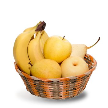 Bananas, pears and apples in basket - бесплатный image #350283