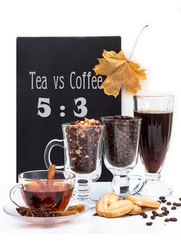 Tea and coffee beans in glasses on white background - image #350313 gratis
