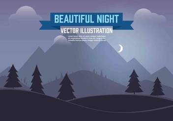 Free Vector Night Landscape Illustration - Kostenloses vector #350433