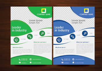 Blue and Green Vector Brochure Flyer Design Template - Kostenloses vector #350483