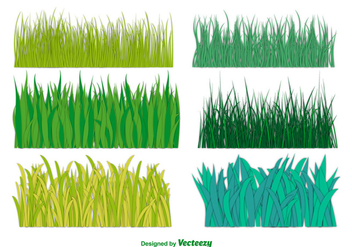 Big Green Grass Vector Collection - vector #350543 gratis