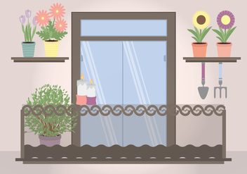 Vector Plant Filled Balcony Illustration - vector gratuit #350563