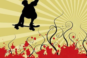 Skater Silhouette Swirls Grunge Background - Free vector #350573
