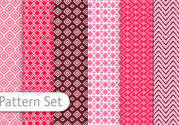 Red Line Art Pattern Set - vector gratuit #350863