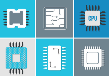 Vector Set of Various Microchips - vector gratuit #350903