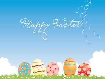 Colored Eggs Easter Card - Free vector #351023
