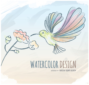 Watercolor humming bird greeting card - Free vector #351173