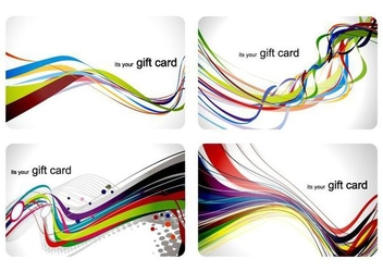 Colorful Waves Card Set - vector gratuit #351293