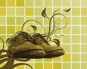 Shoes Swirls on Cubic Background - Free vector #351303