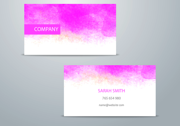 Pink Watercolor Business Card - Free vector #351333