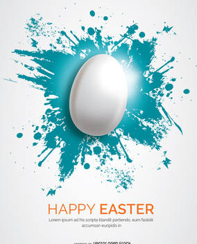 White Easter egg over blue splatter - Free vector #351423