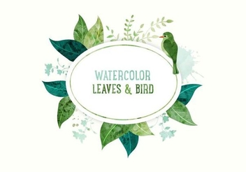 Leaves Bird White Circle Banner - vector gratuit #351463
