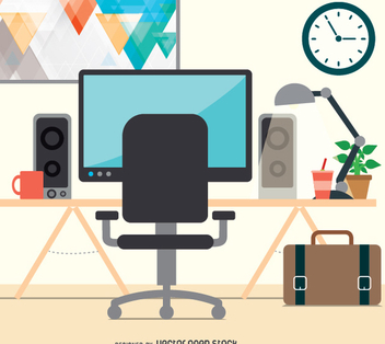 Workspace desktop flat design - vector gratuit #351513
