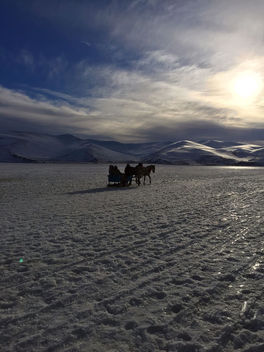 Turkey (Kars) Trip above the frozen Cildir Lake at sunset - image gratuit #351613