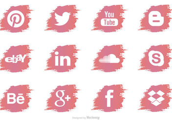 Brush Stroke Social Media Vector Icons - бесплатный vector #351713