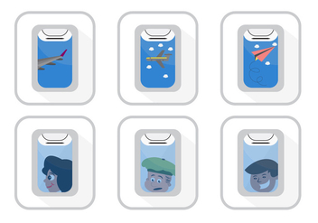 Vector Set of Plane Window Views - vector gratuit #351733